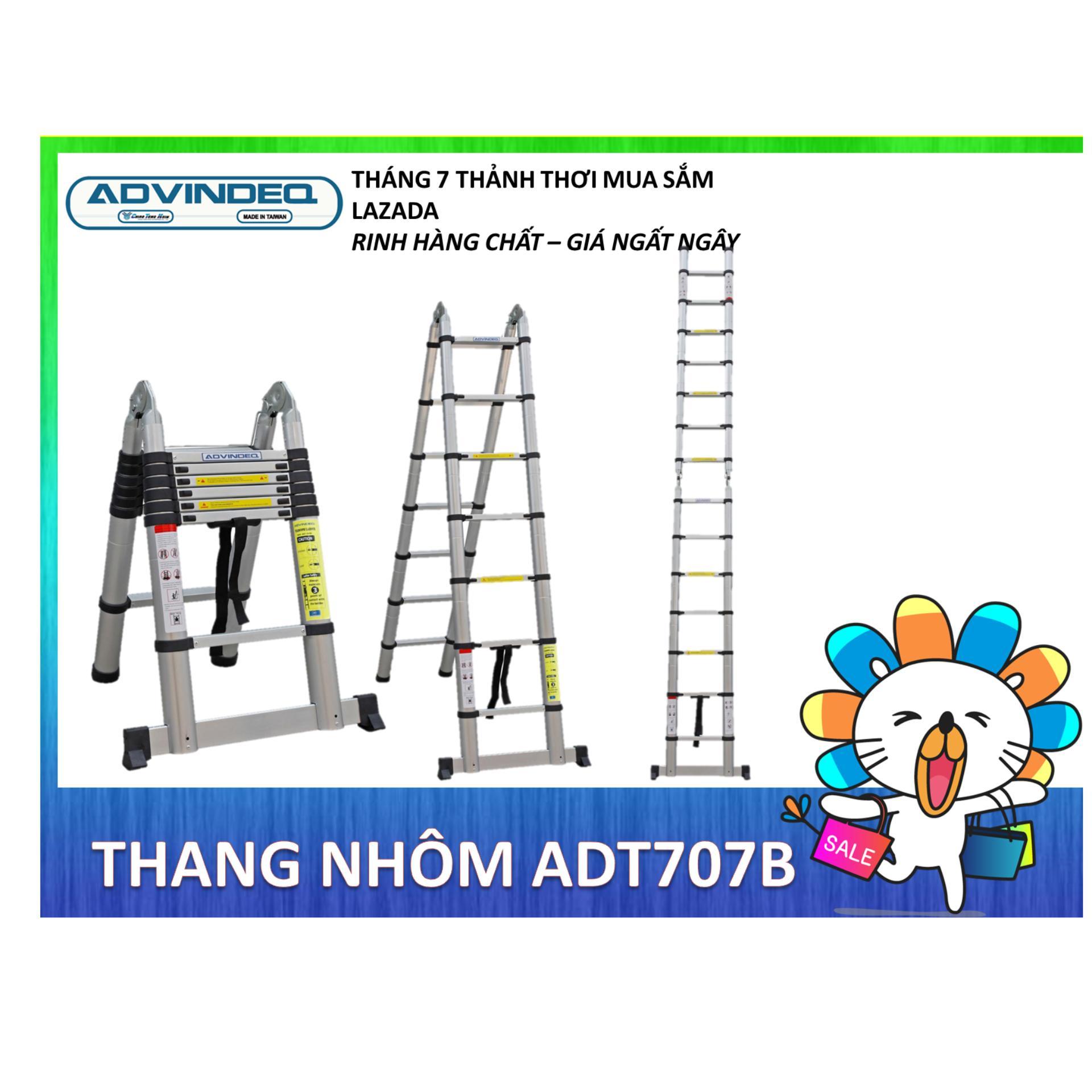 Thang nhôm rút gọn Advindeq ADT707B (A: 2,1m; I: 4,4m)