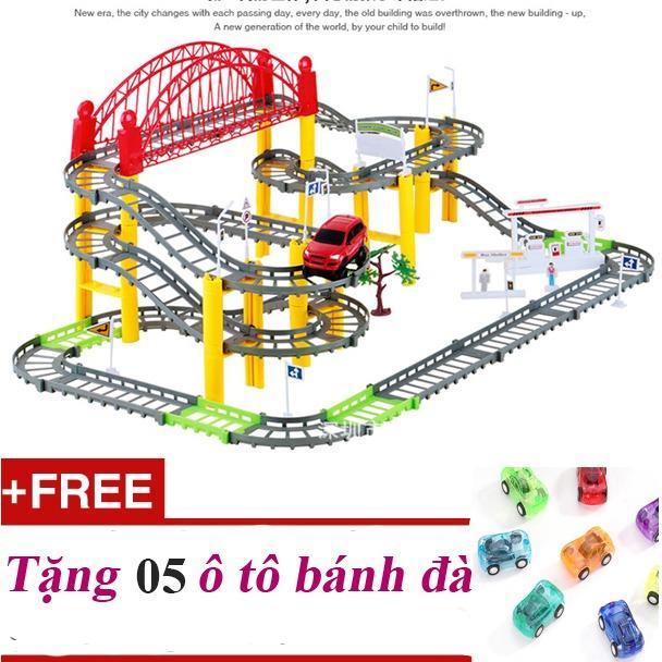 Hình ảnh Ô TÔ TÀU LƯỢN loại khổ lớn - Bộ đồ chơi lắp ráp đường ray phổ biến nhất thị trường + Tặng 05 ô tô bánh đà