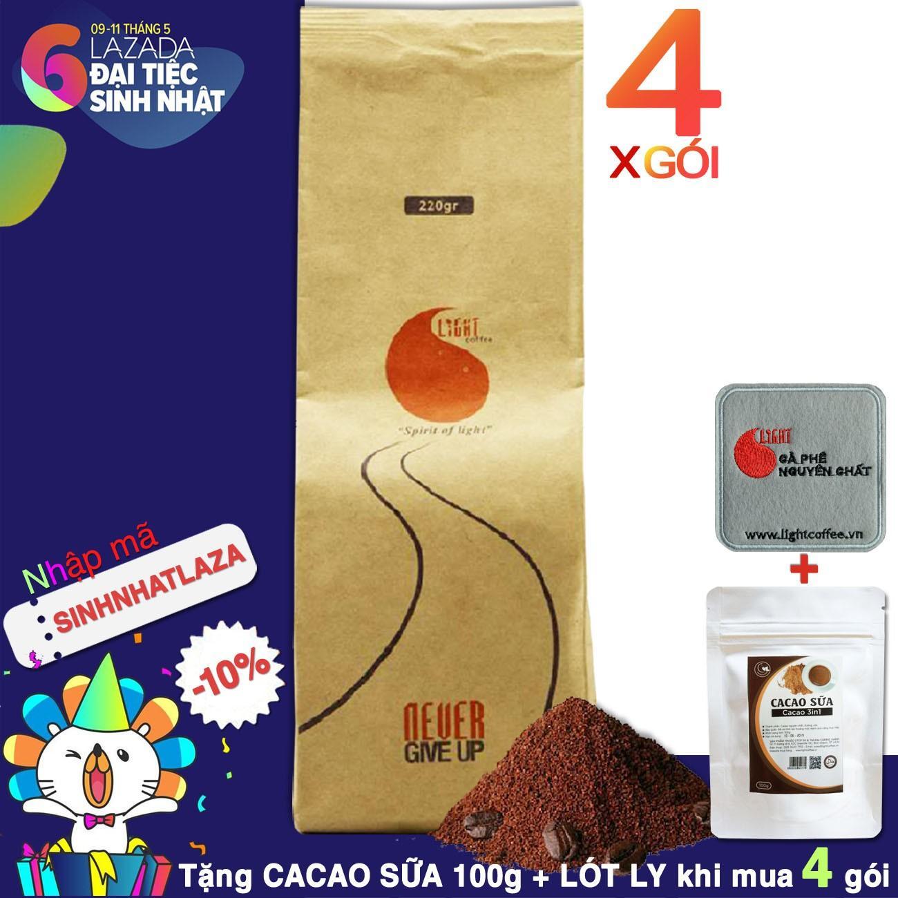Ôn Tập 4 Goi Ca Phe Bột Nguyen Chất 100 Light Coffee 220Gr Light Coffee