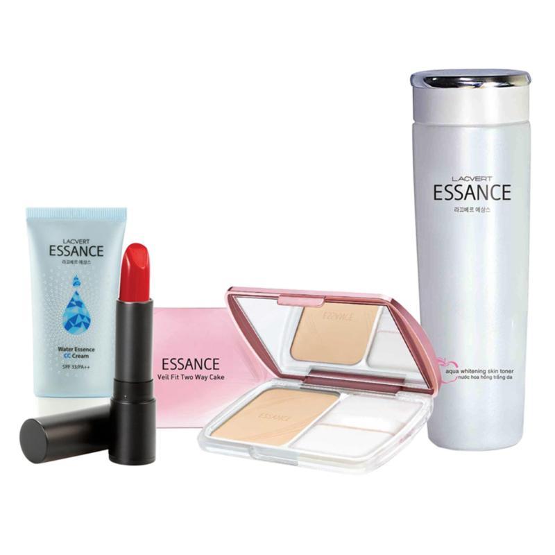 Bộ Makeup Trắng Hông - Son Lì Matte Lipstick #442, Phấn Phủ Siêu Mịn Veil Fit #13, Nước Hoa Hồng Trắng Da Aqua Whitening Và CC Cream #10