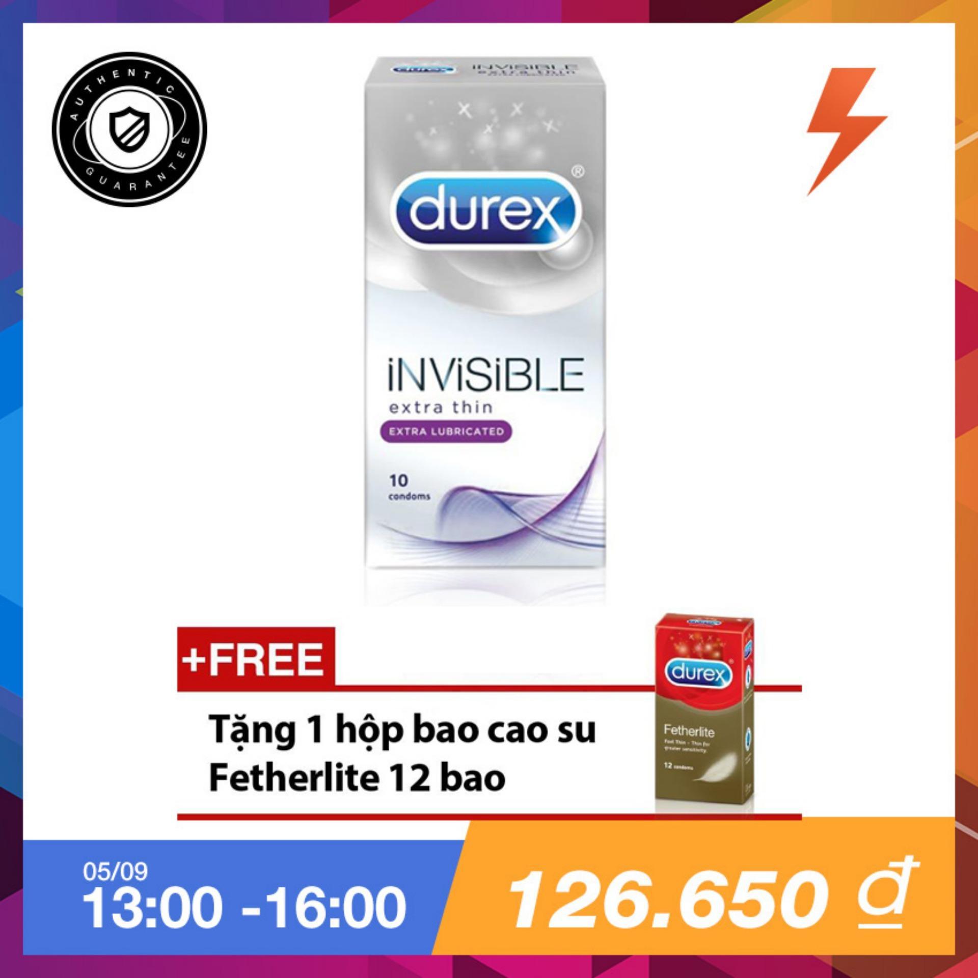 Giá Bán Bao Cao Su Durex Invisible Extra Lubricant 10 Bao Tặng 1 Hộp Bao Cao Su Durex Fetherlite 12 Bao Durex