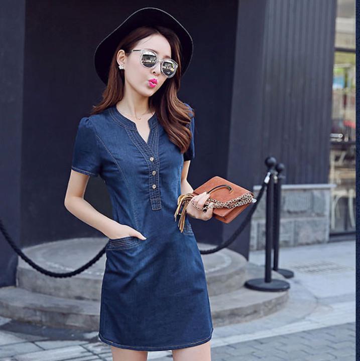 Đầm Jean Cổ V Nẹp Viền Phối Tui Co Size Xxl Hồ Chí Minh Chiết Khấu