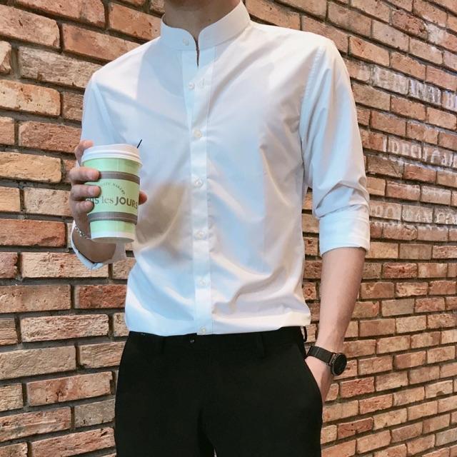 Hình ảnh Sơ mi nam cổ Trụ dáng ôm vải mịn không nhăn, dáng ôm chất liệu siêu mát (Trắng Cúc Trắng)
