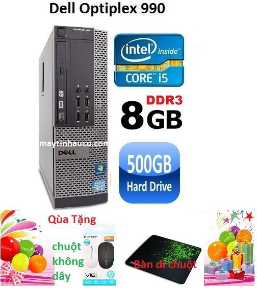 Thùng CPU Dell optiplex 990  ( Core i5 2400 / 8G / 500G ) Tặng chuột không dây chính hãng , bàn di chuột , Bảo hành 24 tháng - Hàng nhập khẩu (Xám)