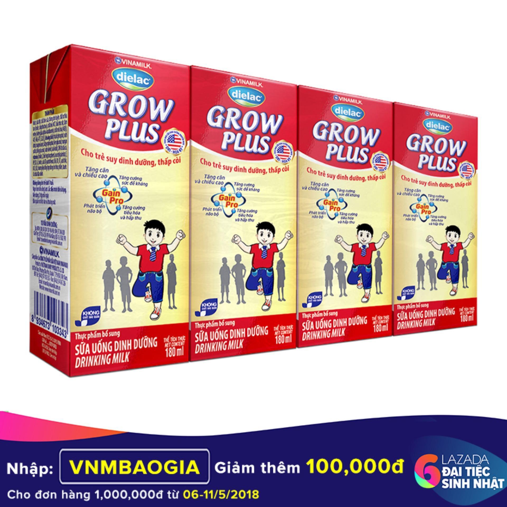 Giá Bán Thung 48 Hộp Sữa Bột Pha Sẵn Vinamilk Dielac Grow Plus 180Ml Có Thương Hiệu