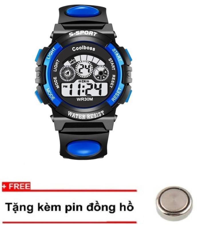 Nơi bán Đồng hồ trẻ em dây cao su Coolboss 0119 Xanh + Tặng kèm 1 pin ĐH