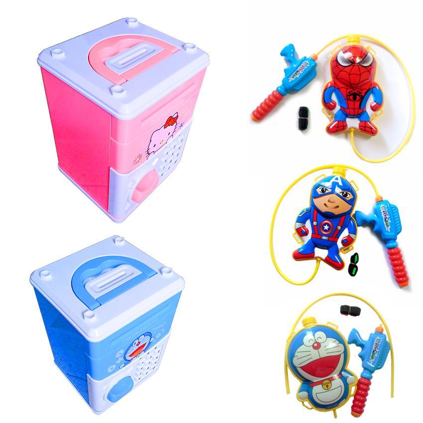 Két sắt mini đồ chơi thông minh Cartoon Bank + Balo súng nước dành cho bé