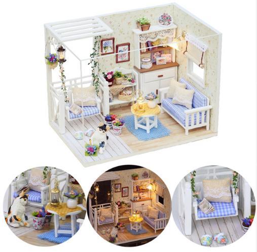 Hình ảnh Đồ chơi mô hình nhà gỗ diy Cute Room H-013( Tặng Mica Che Bụi + Keo)