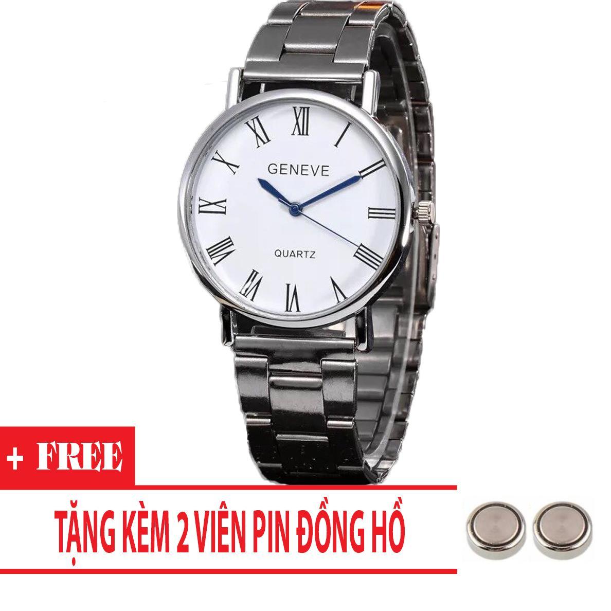 Hình ảnh Đồng hồ nam dây thép giá rẻ Geneve cá tính (Dây Bạc, Mặt Trắng) + Tặng Kèm Pin