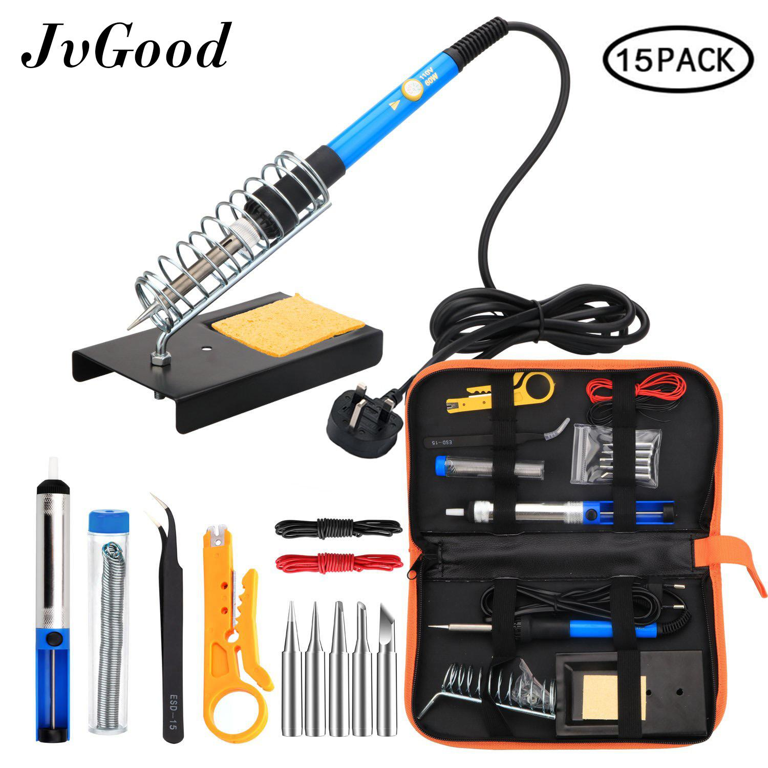 JvGood Soldering Iron Kit Electronics 15 Pieces Set 60W Adjustable Temperature Welding Tool, 5pcs Soldering