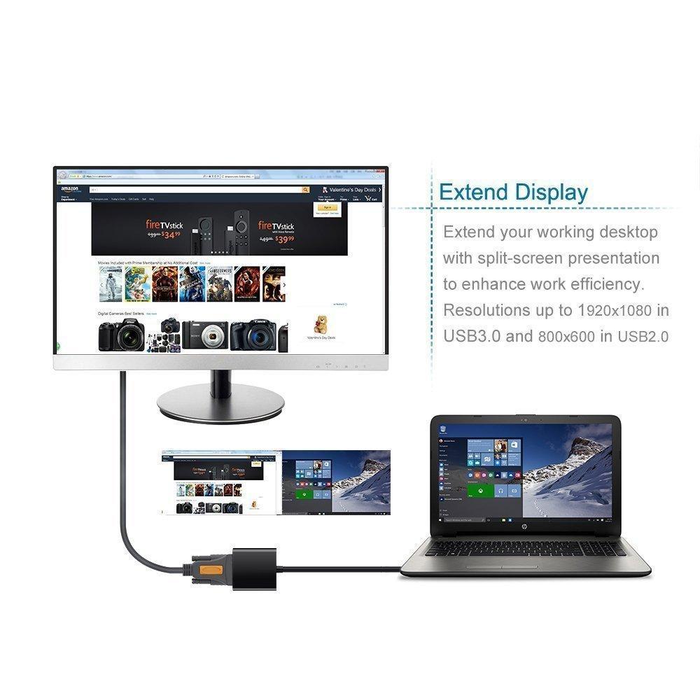 Cáp chuyển đổi USB 3.0 to VGA Onten OTN-5201 hỗ trợ Full HD 1080P