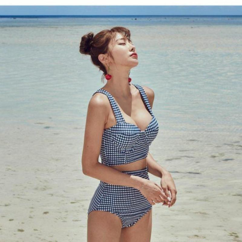 Nơi bán Bikini kẻ caro lưng thắt nơ phong cách Hàn Quốc