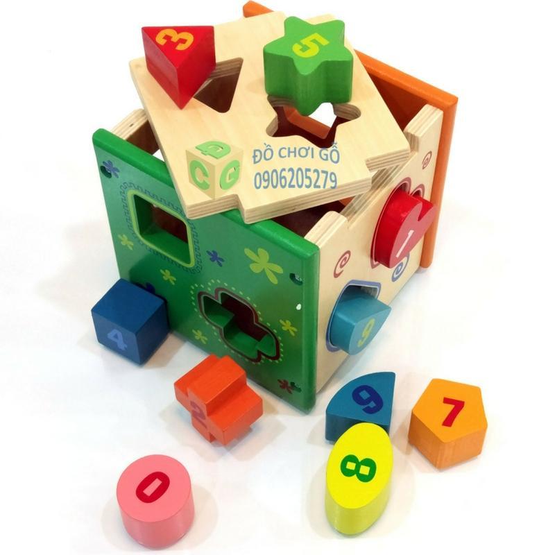 Hình ảnh Hộp thả hình khối gỗ, Đồ chơi cho bé 1 tuổi