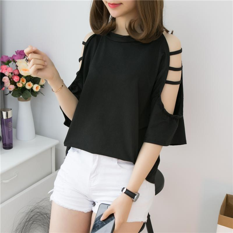 35c0cd3cfcb 2019 New Style Korean Style Loose And Plus-sized Half-sleeve Shirt Hollow  out