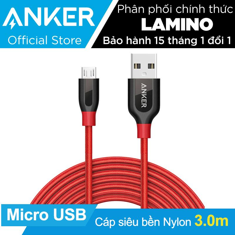 Mã Khuyến Mại Cap Sieu Bền Nylon Anker Powerline Micro Usb Dai 3M Đỏ Hang Phan Phối Chinh Thức Rẻ