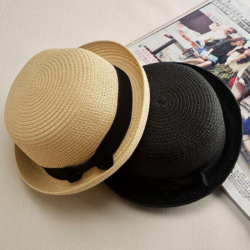 c90a9c059bd New new Lady Boater sun caps Ribbon Round Flat Top Straw Fedora Panama Hat  summerhats for