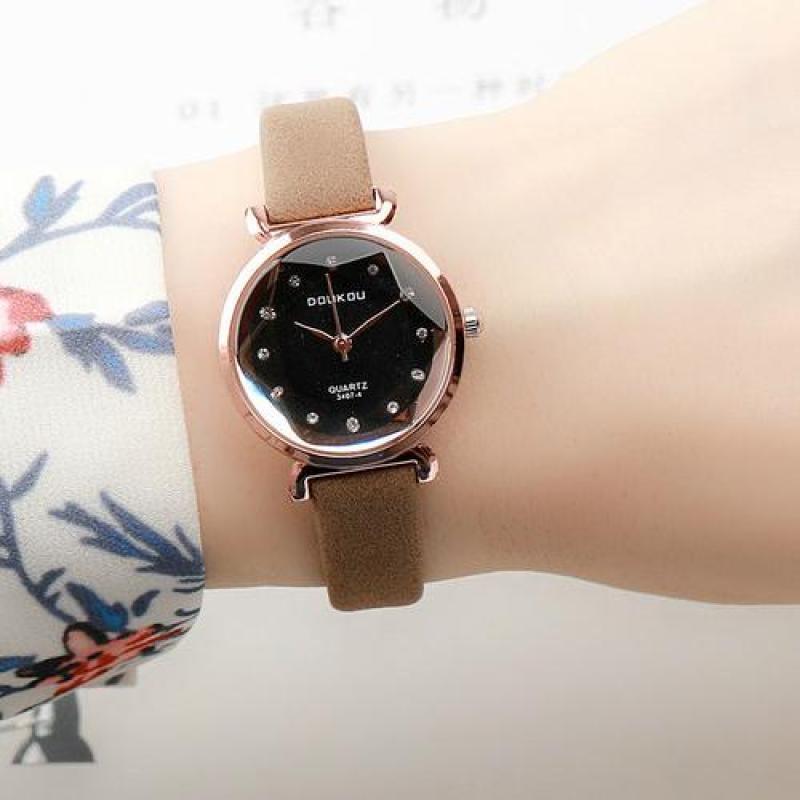 Nơi bán Đồng hồ nữ dây da lộn cao cấp DOUKOU mặt vát 3D thời trang MDH-DK3407