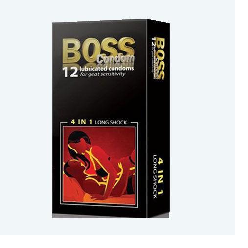 Bao cao su gân gai kéo dài thời gian Boss 4in1 hộp 12c
