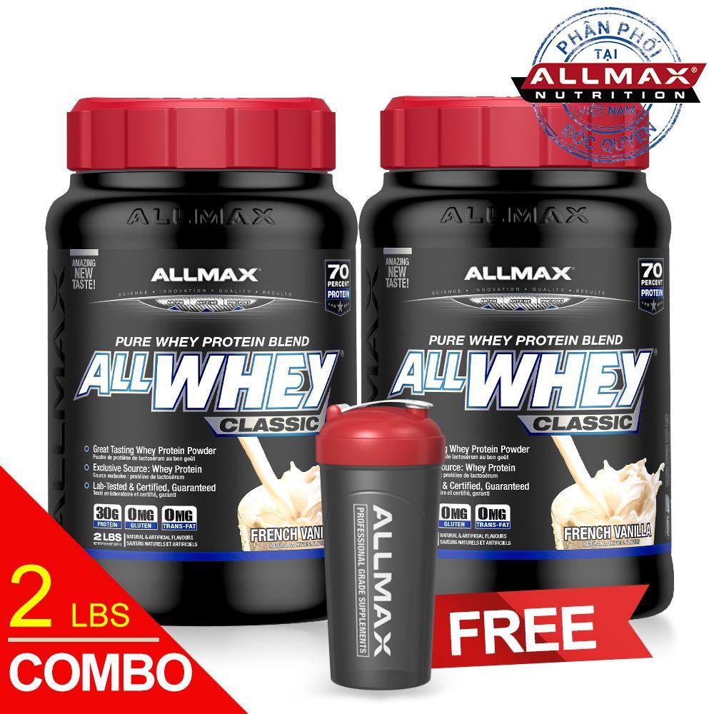 Hình ảnh Set 2 hộp thực phẩm bổ sung whey protein cao cấp ALLMAX ALLWHEY CLASSIC VANILLA