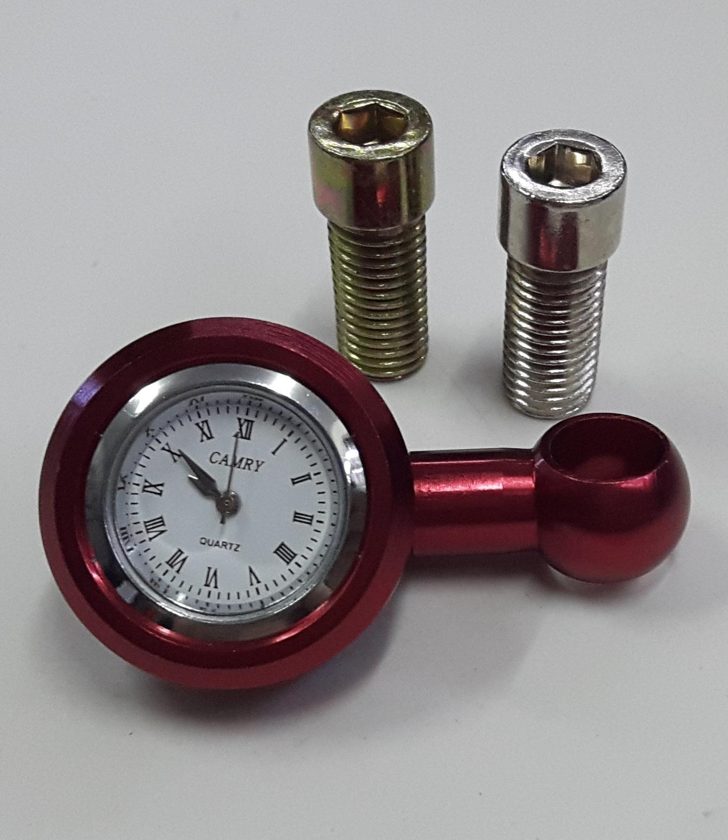 Đồng hồ chân gương xe máy Rizoma màu đỏ + Tặng 1 ốc ren thuận và 1 ốc ren ngược