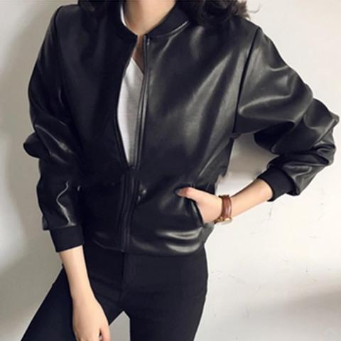 Small Leather Coat Female Short High-Waisted Slim Fit Students Slimming Korean Style Chic2018 New Style Autumn And Winter Locomotive Large Size Coat By Taobao Collection.