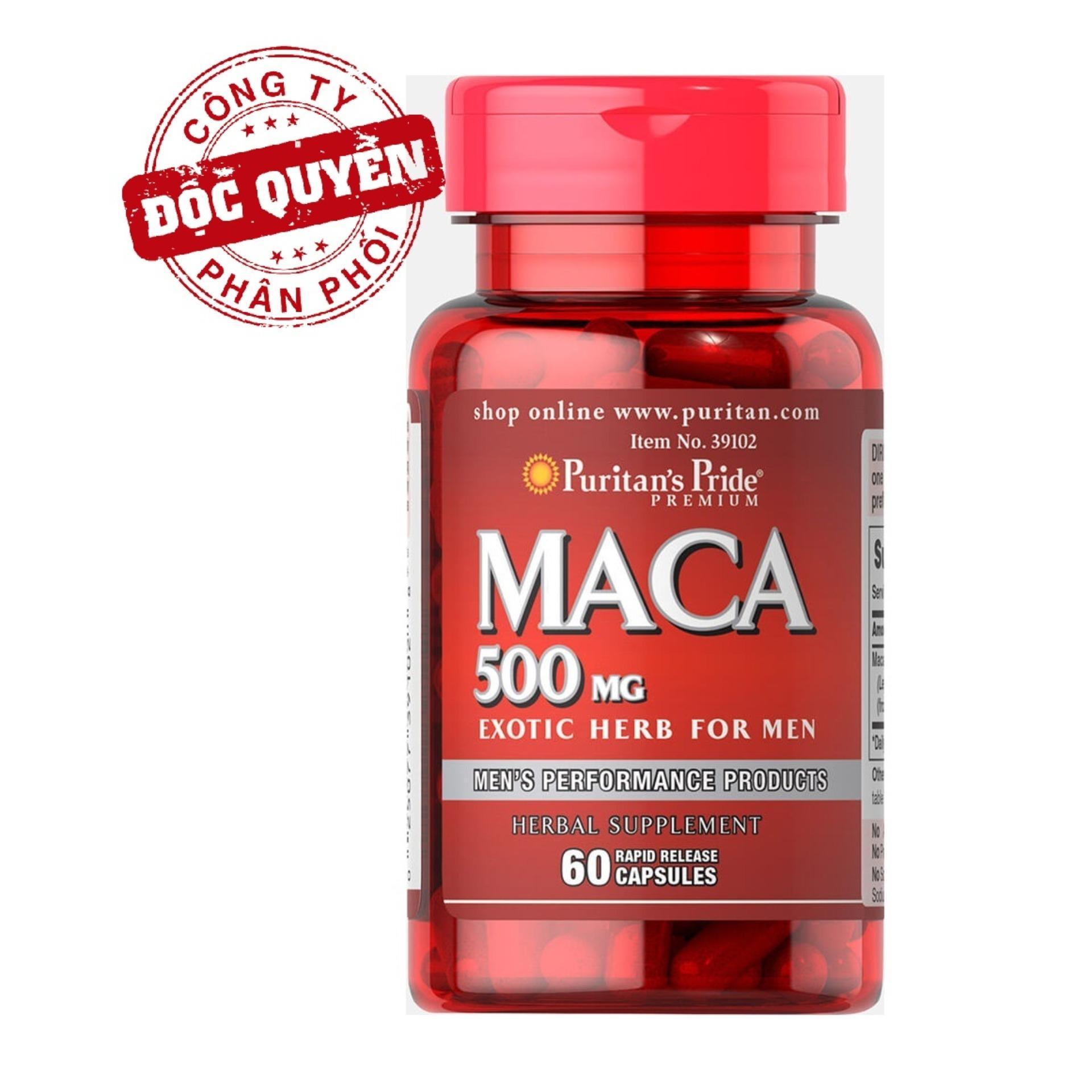 Viên uống tăng cường sinh lực Puritans Pride Primium Maca Exotic Herb For Men 500mg 60 viên