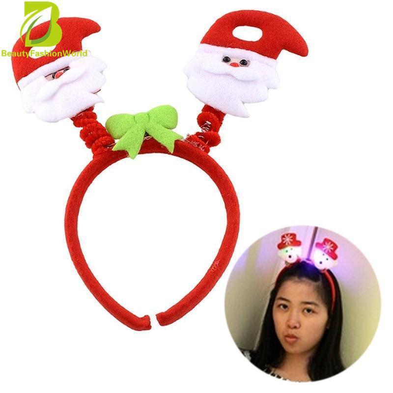 Hình ảnh LED Kids Christmas Xmas Headband Hat Reindeer Santa Claus Decorations - intl