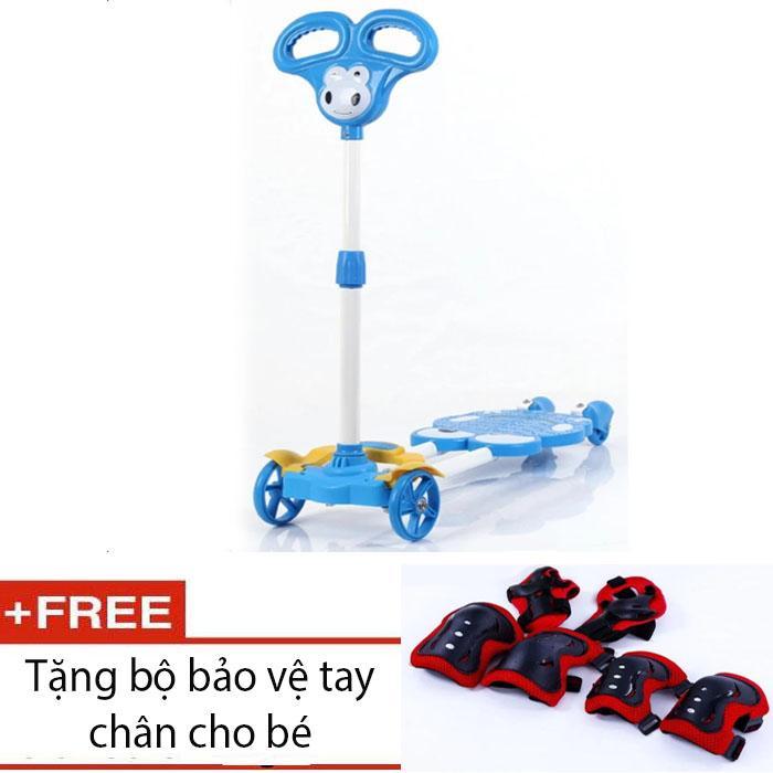 Xe đẩy Scooter 4 bánh cho bé (Xanh dương) + bảo vệ tay chânbé