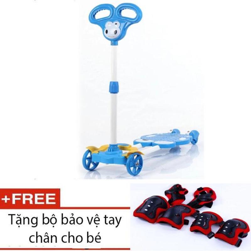 Mua Xe trượt Scooter 4 bánh cho bé (Xanh dương) + tặng bảo vệ tay chân cho bé