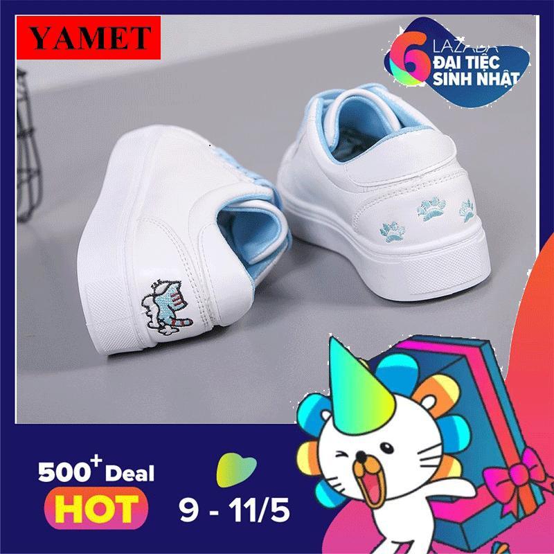 Mua Giay Sneaker Nữ Theu Meo Dễ Thương Yamet Ya 0936Tx Trắng Phối Xanh Trong Hà Nội