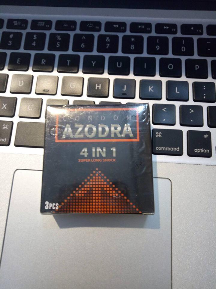 Hình ảnh Bao cao su tổng hợp gân, gai, mỏng, kéo dài thời gian quan hệ Azodra 3 bao