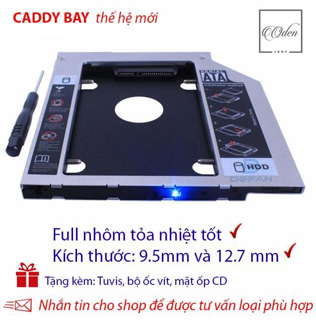 Hình ảnh Khay gắn ổ Cứng SSD/HDD thứ 2 cho laptop - Full nhôm - dày 12.7mm và mỏng 9.5 mm,SATA, Tặng tuvit & mặt ốp cd