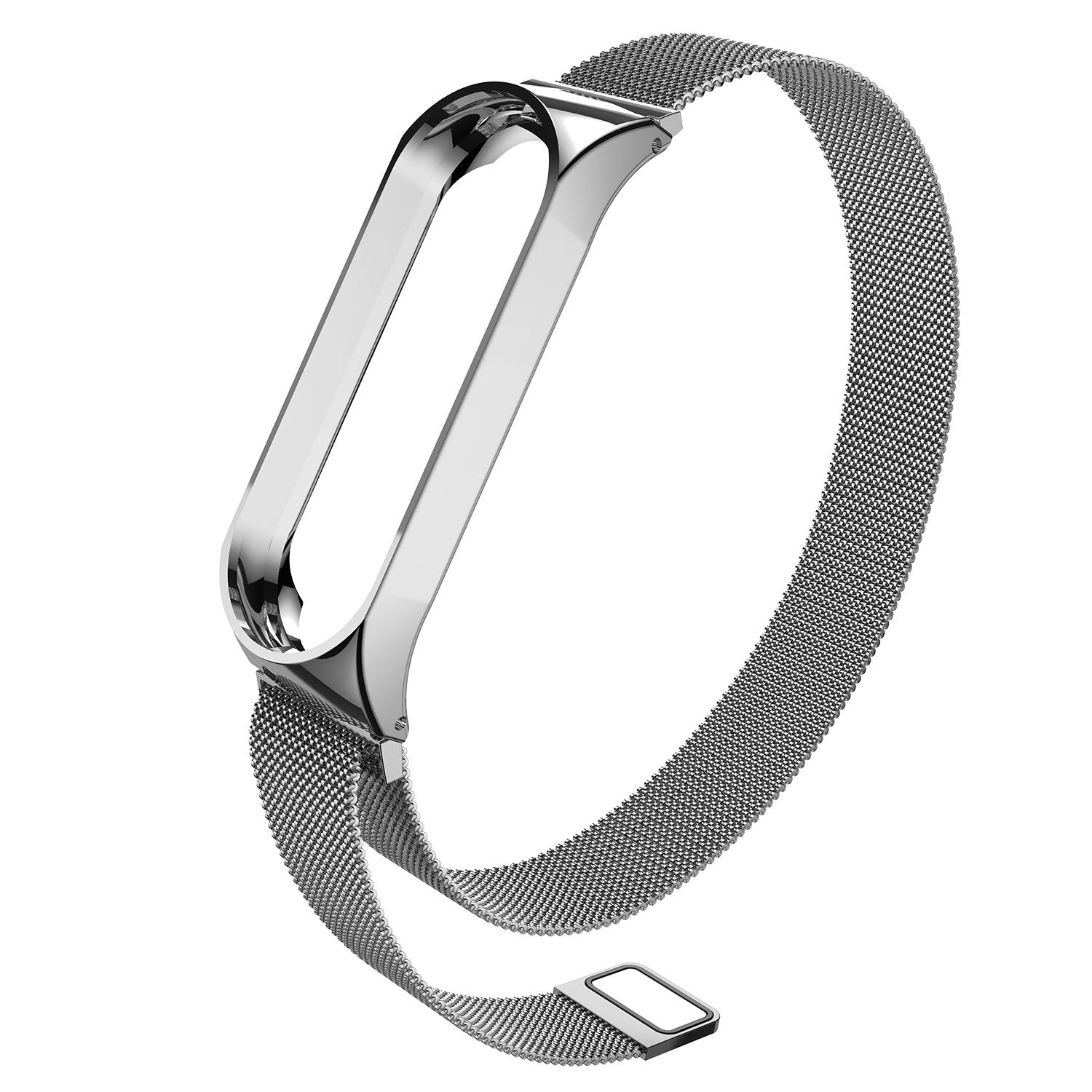Fashion Milanese Style Magnetic Loop Clasp Replacement Wristband Strap Bracelet Smart Band Accessories for Xiaomi Mi Band 3 (Black/Silver) - intl