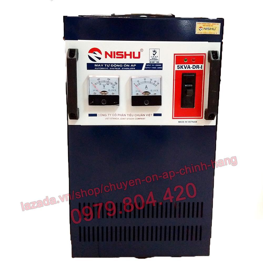 Ổn Áp Nishu 5KVA DR-I dải 50-250V, bảo hành 4 năm, 100% dây đồng