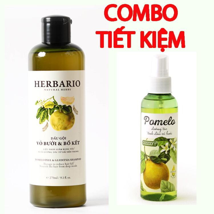 Bán Bộ Dầu Gội Bưởi Bồ Kết Herbario Tinh Dầu Bưởi Pomelo