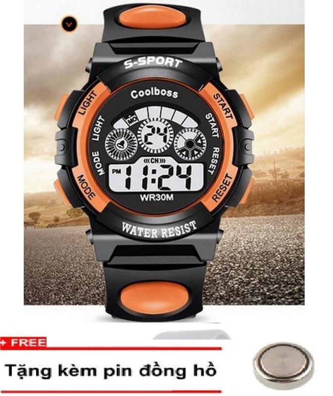 Nơi bán Đồng hồ trẻ em dây cao su Coolboss 0119 Cam + Tặng kèm 1 pin dự trữ