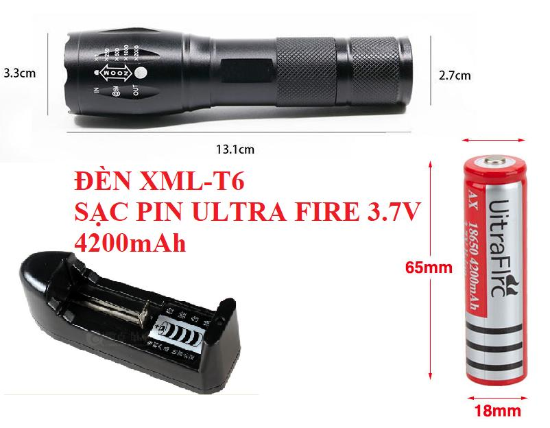 Hình ảnh Bộ 1 Pin 3.7V 4200mAh +1 sạc li-ion 18650 (dùng cho đèn pin, quạt mini sạc,...)