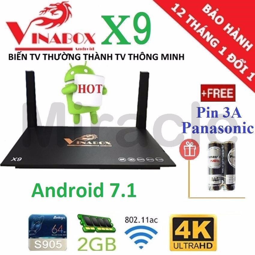 Mua Android Tivi Box Vinabox X9 New 2018 Android 7 1 Tặng Tai Khoản Vip Va Cặp Pin 3A Panasonic Phan Phối Bởi Miracles Company Hồ Chí Minh