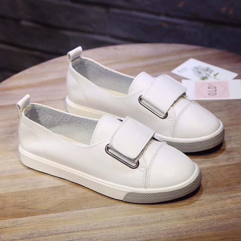 2018 model baru musim semi Gaya Korea sepatu putih kecil sepatu wanita  netral sol datar stiker 4c90febebc