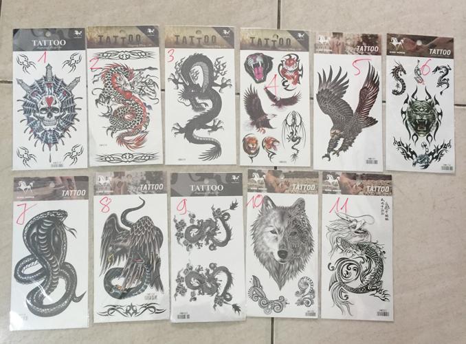 Hình ảnh Combo 2 miếng Hình xăm dán nước tattoo cao cấp cho nam - 2 mẫu khác nhau