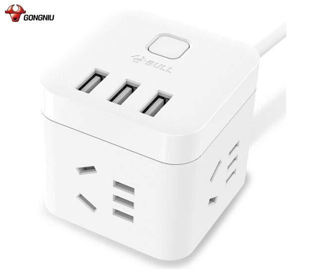 Hình ảnh Ổ cắm đa năng USB hình Rubik trắng thông minh GN-U303U