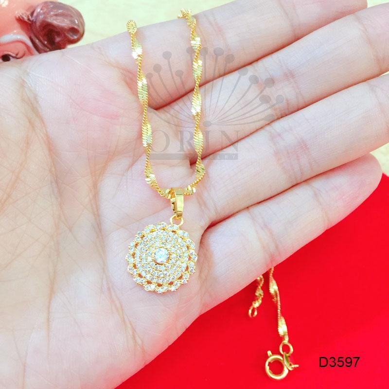 Hình ảnh Dây chuyền xi mạ vàng dây xoắn mặt tròn đính đá nhỏ giữa cao cấp tiny ORIN AL D3597