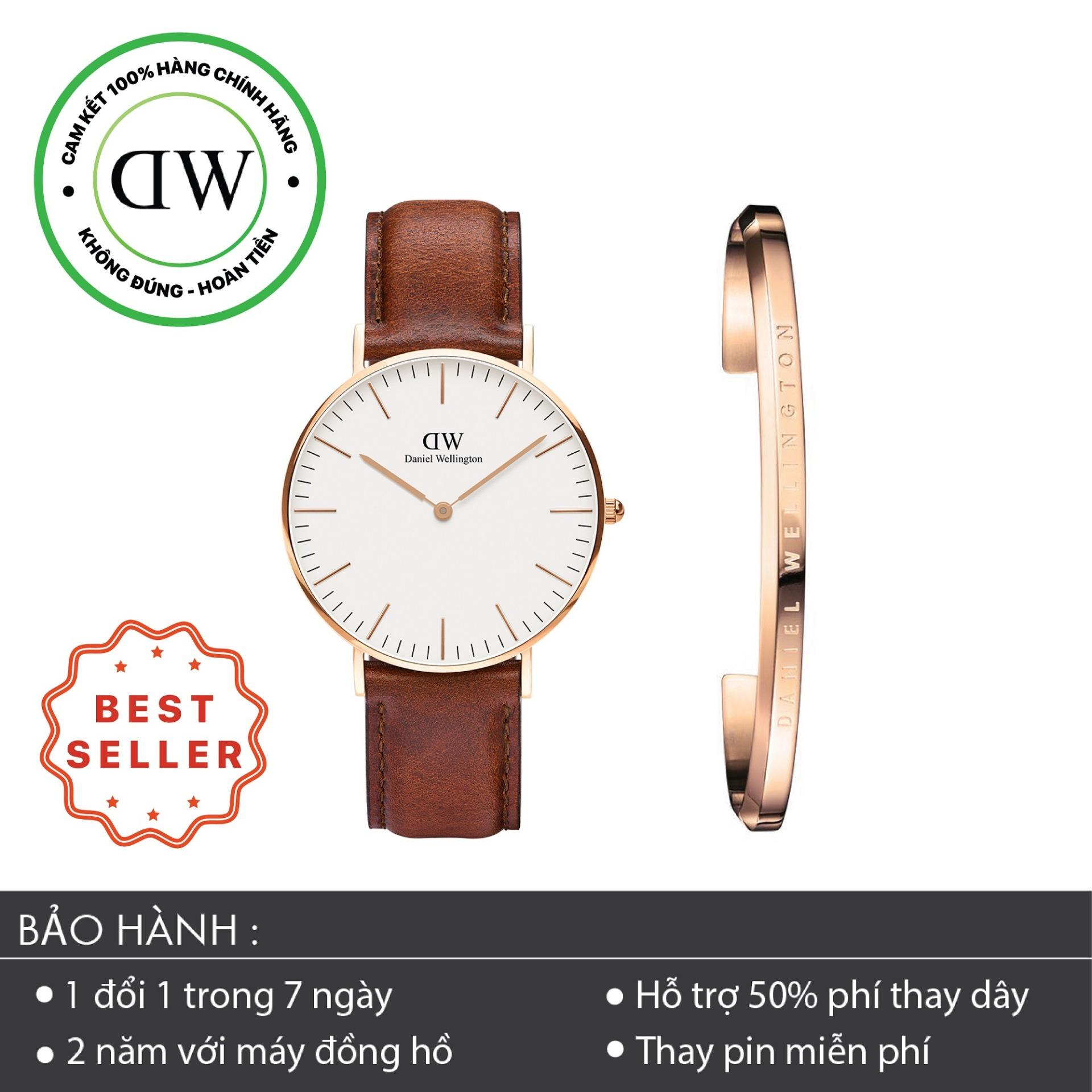 Bán Combo Đồng Hồ Nữ Daniel Wellington Classic St Mawes 36Mm Vong Tay Classic Cuff S Vang Hồng Dw00100035 Daniel Wellington