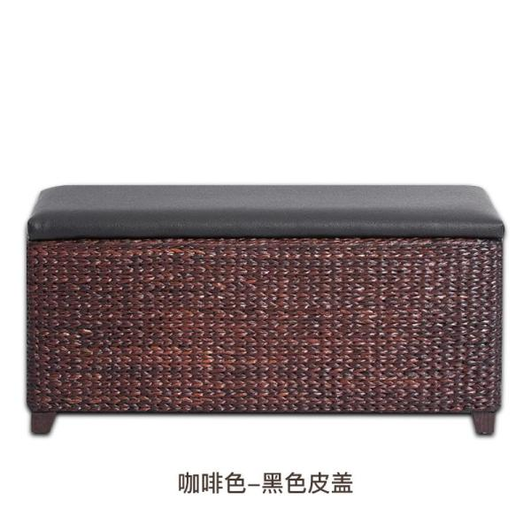 Rattan Storage Stool Storage Stool Can Sit Adult Extra Large Multi-functional Storage Box Solid Wood Sofa Stool Footstool