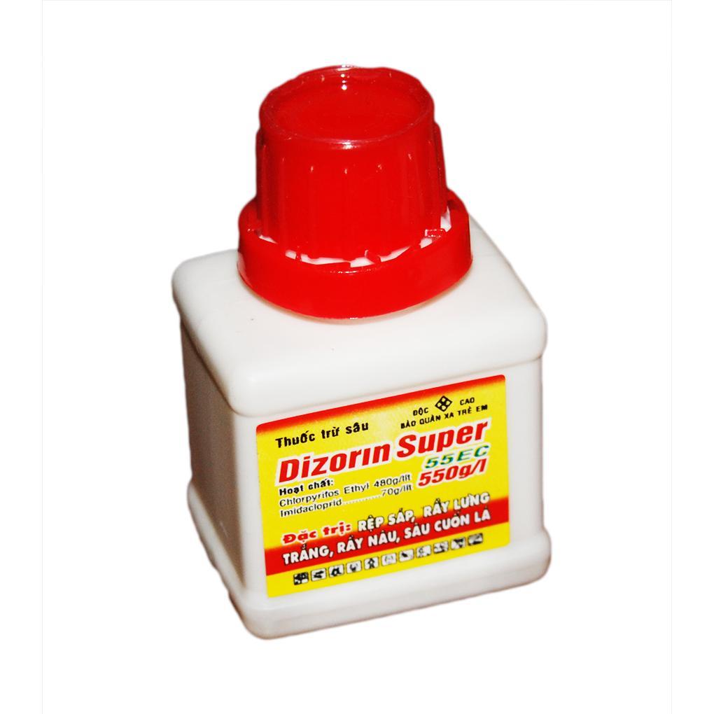 Hình ảnh Thuốc trừ sâu + bọ trĩ Dizorin Super 55ec (đặc trị rệp sáp, rệp trắng, rầy nây, sâu cuốn lá)