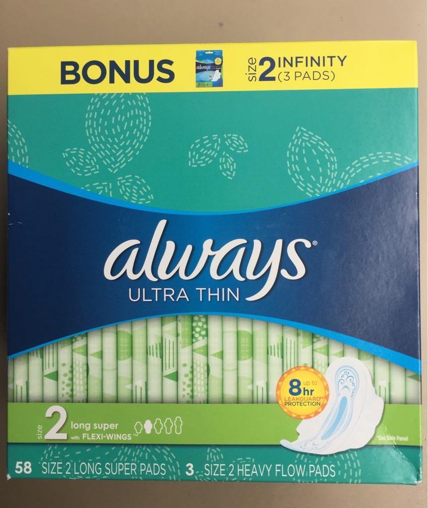 Băng vệ sinh  ALWAYS NGÀY 58 MIẾNG size 2 TẶNG 3 miếng size 2 của Mỹ nhập khẩu