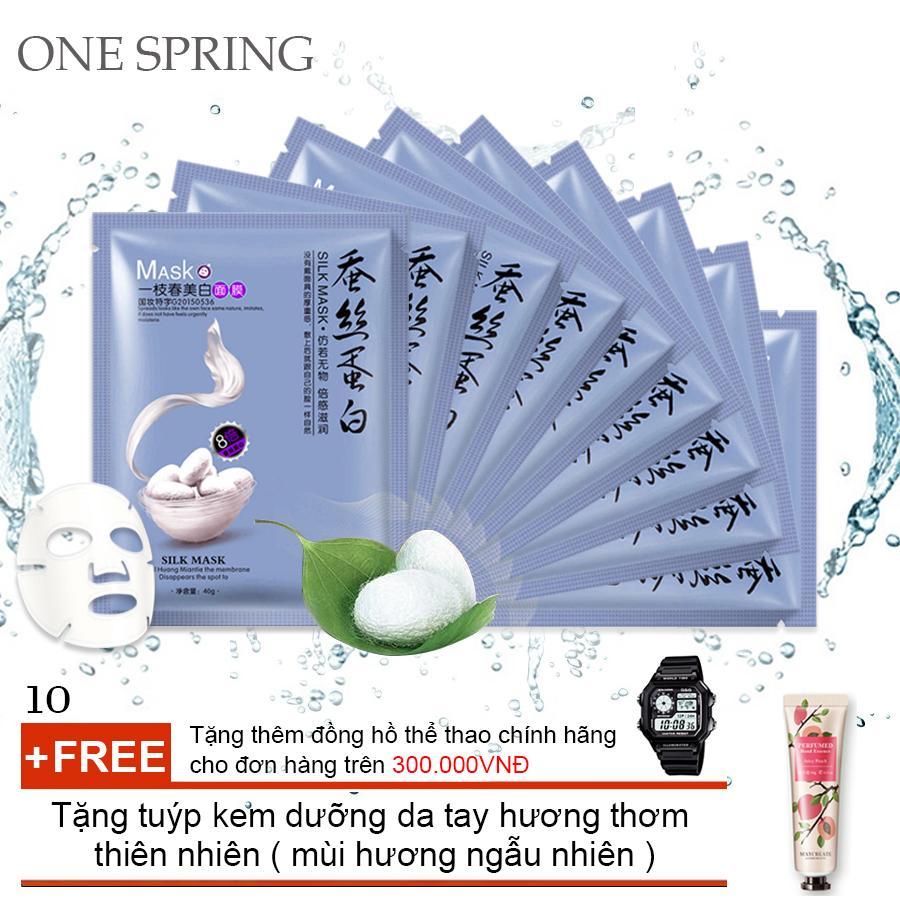 Bộ 10 Mặt Nạ Siêu Cấp Ẩm Chiết Xuất Từ Tơ Tằm One Spring (Xanh) + Tặng tuýp kem dưỡng da tay hương thơm thiên nhiên ( Đơn hàng  mỹ phẩm trên 300k tặng thêm 1 đồng hồ thể thao như quảng cáo )