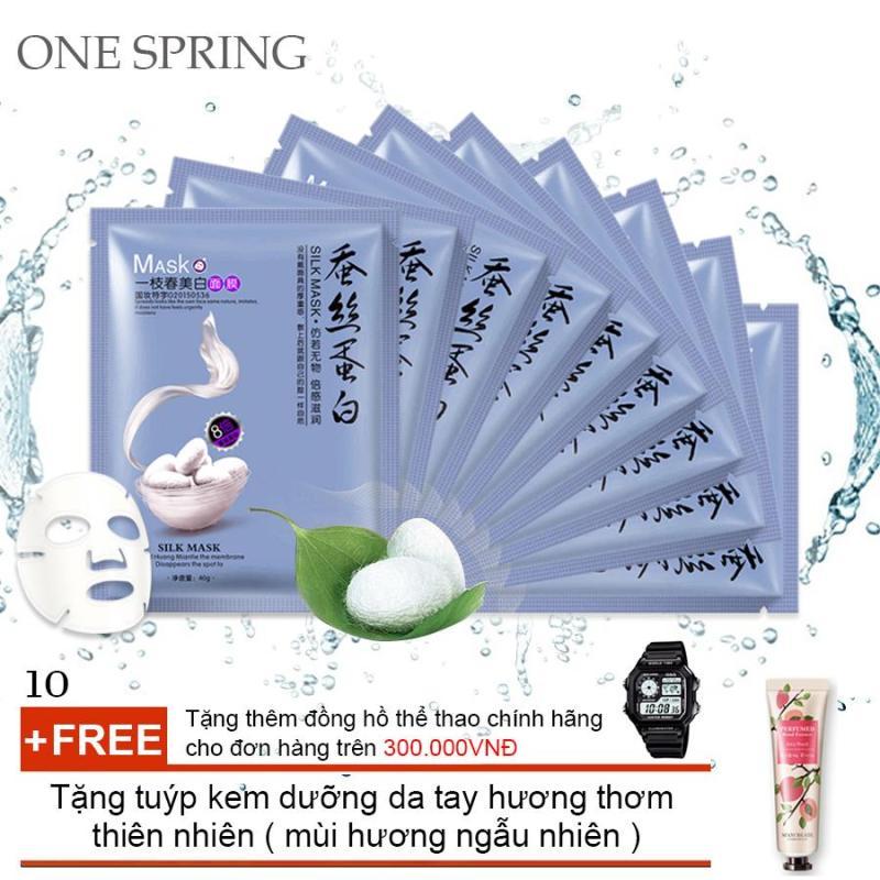 Bộ 10 Mặt Nạ Siêu Cấp Ẩm Chiết Xuất Từ Tơ Tằm One Spring (Xanh) + Tặng tuýp kem dưỡng da tay hương thơm thiên nhiên ( Đơn hàng  mỹ phẩm trên 300k tặng thêm 1 đồng hồ thể thao như quảng cáo ) nhập khẩu