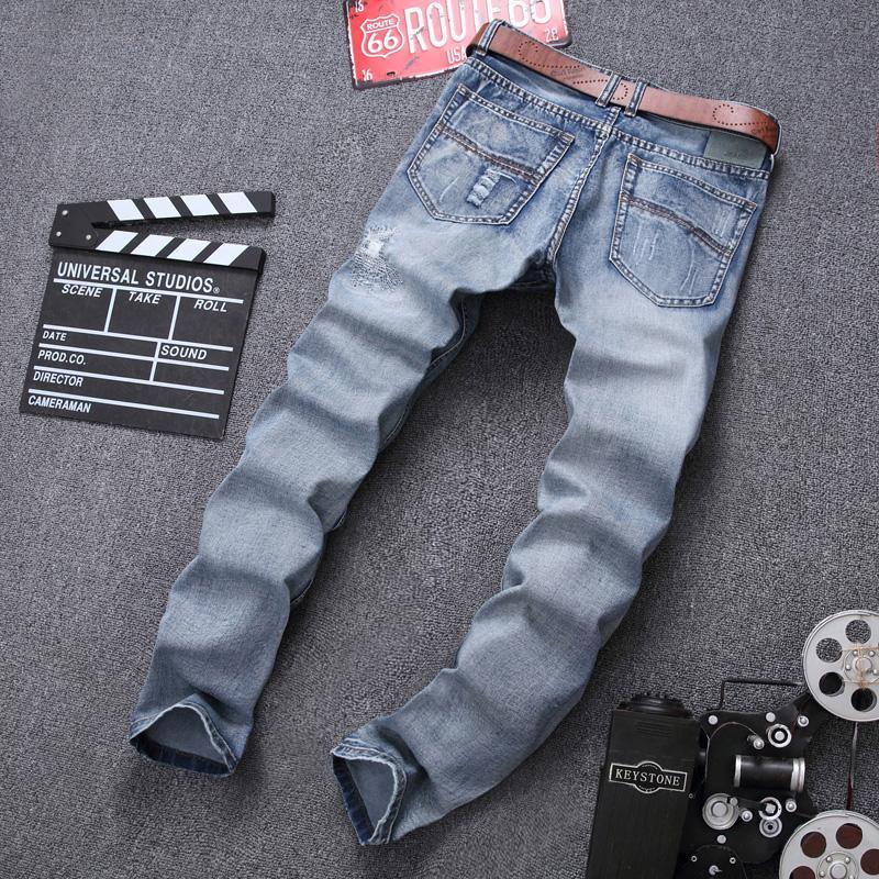 ... Beckham Model Sama Trendi Pria bordir celana jeans sobek pakaian pria anak muda tambalan celana kulot ...