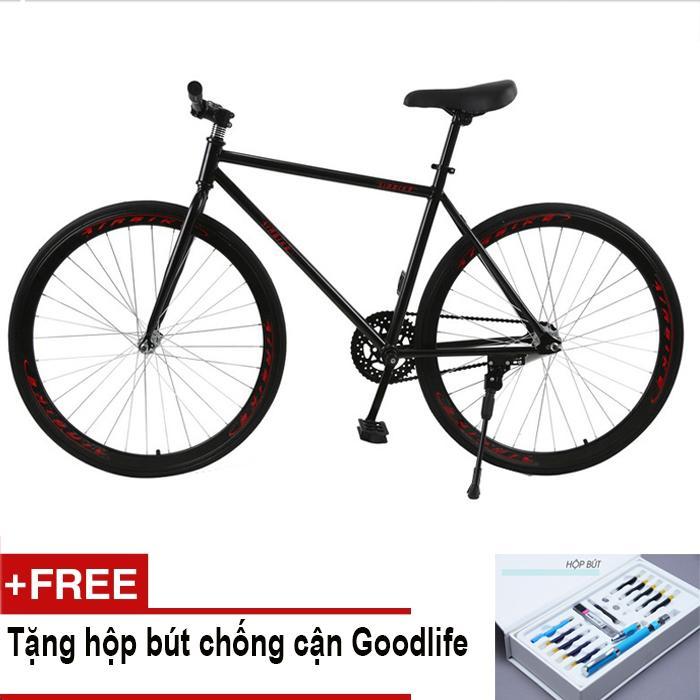 Xe đạp Fixed Gear Air Bike MK78 (đen) + Tặng hộp bút chống cận Goodlife